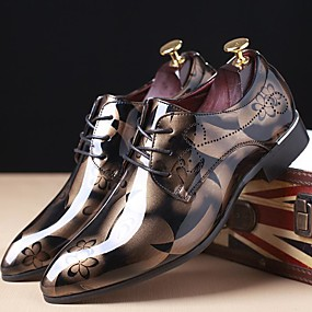 5a9c10def9a Men s Printed Oxfords Patent Leather Spring   Fall Oxfords Red   Blue    Light Brown   Party   Evening   Party   Evening   Outdoor   Comfort Shoes    EU40