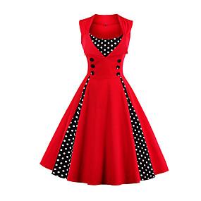 povoljno Crvene haljine-Žene Veći konfekcijski brojevi Praznik Izlasci Vintage 1950-te A kroj Haljina - Print, Na točkice Midi Crvena / Party