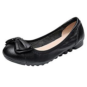 abordables Chaussures Plates pour Femme-Femme Chaussures Cuir / Cuir Nappa Printemps / Eté Confort / Ballerine / Semelles Légères Ballerines Marche Talon Plat Bout rond Noeud