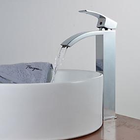 hesapli İndirim Musluklar-Banyo Lavabo Bataryası - Şelale Krom Tek Gövdeli Tek Kolu Bir DelikBath Taps / Pirinç
