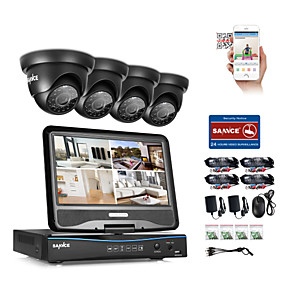 cheap Security Systems-SANNCE® 4CH 1080P LCD DVR Weatherproof Security System Supported 720P Analog AHD TVI IP Camera Without HDD