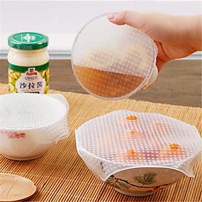 povoljno Najprodavanije-4pcs višenamjenska hrana svježe držanje saran zamotajte kuhinjski alati višekratna silikonska hrana oblozi brtvilo poklopac vakuum pokriti protežu