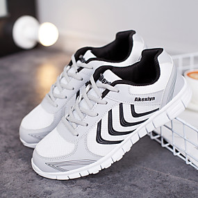 cheap Running Shoes-Men's Light Soles Tulle Spring / Summer Athletic Shoes Running Shoes / Tennis Shoes White / Dark Grey / Light Grey