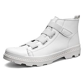 baratos Botas Masculinas-Homens Sapatos Confortáveis Couro / Couro Ecológico Primavera / Outono Esportivo Botas Botas Cano Médio Preto / Branco / Vermelho / Ao ar livre / Fashion Boots