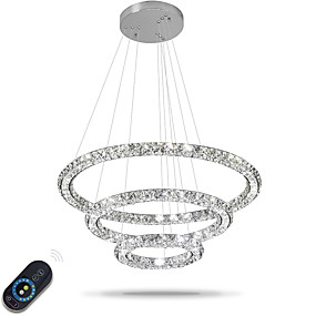 cheap Chandeliers-Chandelier Ambient Light Electroplated Metal Crystal, Adjustable, Dimmable 110-120V / 220-240V Dimmable With Remote Control LED Light Source Included / LED Integrated