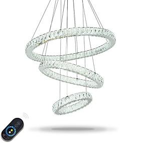 billige Hengelamper-Sirkelformet Lysekroner Omgivelseslys galvanisert Metall Krystall, Justerbar, Mulighet for demping 110-120V / 220-240V Dimbar med fjernkontroll LED lyskilde inkludert / Integrert LED