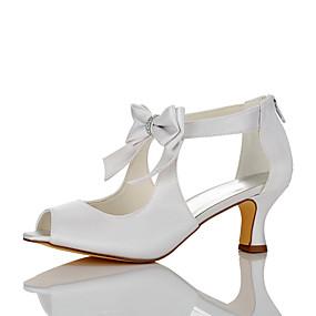 7b066c59b98 Γυναικεία Παπούτσια Σατέν Καλοκαίρι / Φθινόπωρο Ανατομικό Σανδάλια Τακούνι  Στιλέτο Ανοικτή μύτη Φιόγκος Λευκό / Γάμου
