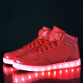 d83477492d4 Women s Shoes Leatherette Fall   Winter Comfort   Light Up Shoes Sneakers  Walking Shoes Low Heel Hook   Loop   LED Black   Silver   Red