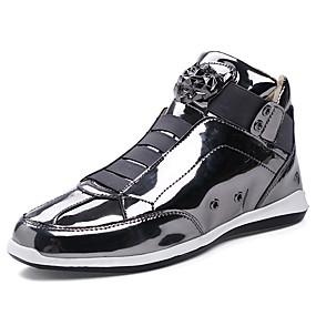 baratos Tênis Masculino-Homens Sapatos Confortáveis Couro Sintético / Couro Envernizado Primavera / Outono Tênis Preto / Dourado / Prata