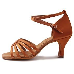 levne Taneční boty-Dámské Latina Satén Sandály Podpatky Začátečník Přezky  Ratan Kubánský Hnědá 1  quot 9e35e883ff