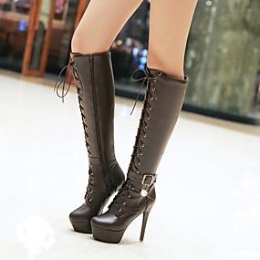 povoljno Seksi čizme-Žene Čizme Stiletto potpetica / Platformske cipele Okrugli Toe Umjetni biser / Kopča / Vezanje PU Čizme do koljena Remen oko gležnja / Modne čizme Jesen / Zima Crn / Bež / Tamno smeđa / EU36
