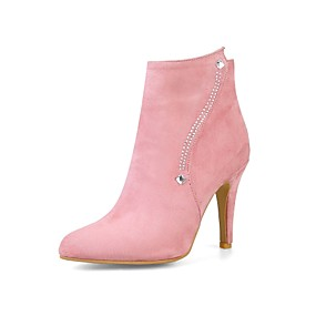 cheap Women's Boots-Women's Shoes Nubuck leather Spring / Fall Comfort / Fashion Boots Boots Stiletto Heel Pointed Toe Booties / Ankle Boots Zipper Gray / Pink / Almond / Wedding / Party & Evening
