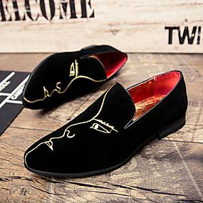 voordelige Wijdere maten schoenen-Heren Formele Schoenen Suède Herfst / Winter Loafers & Slip-Ons Zwart / Bruiloft / Feesten & Uitgaan / Bruiloft / Siernagel / Feesten & Uitgaan