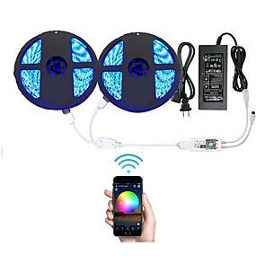 olcso 9. jubileumi vásár-10 m Fényfüzérek 600 LED RGB Vízálló / APP vezérlés / Távirányító 100-240 V 1set / Cuttable / IP65 / Tompítható / Összekapcsolható / Öntapadós