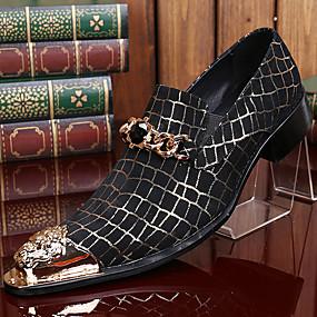 baratos Oxfords Masculinos-Homens Sapatos formais Pele Napa Outono / Inverno Vintage Oxfords Preto / Festas & Noite