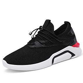 baratos Sapatos Esportivos Femininos-Mulheres Tênis Plataforma Ponta Redonda Courino Conforto Caminhada Primavera / Outono Preto
