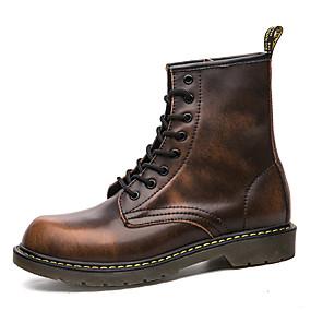 voordelige Wijdere maten schoenen-Heren Legerlaarzen Leer Herfst / Winter minimalisme Laarzen Zwart / Bruin / Rood / Siernagel / EU40