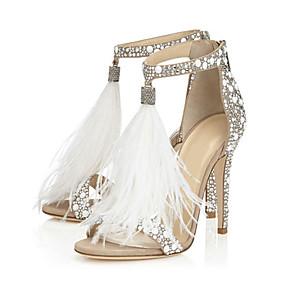 3d10a2b9aa6f0 Kadın's Ayakkabı PU Bahar / Sonbahar Rahat / Yenilikçi Sandaletler Stiletto  Topuk Açık Uçlu Düğün / Parti ve Gece için Taşlı / Fermuar / Püsküllü Badem