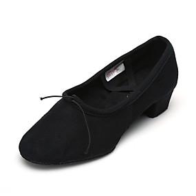 billige Jazz-sko-Dame Jazz-sko Lerret Tykk hæl Kan spesialtilpasses Dansesko Svart / Trening