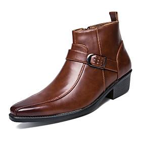 billige Herrestøvler-Herre Fashion Boots Lær Høst / Vinter Støvler Ankelstøvler Svart / Brun / Fest / aften / Snøring / Fest / aften / EU42