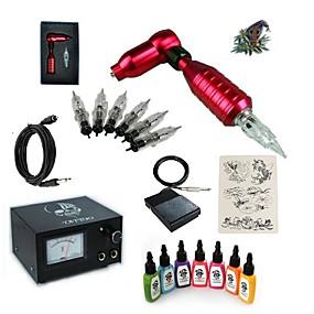 billige Tatoveringssett for nybegynnere-Tattoo Machine Startkit - 1 pcs tattoo maskiner med 7 x 15 ml tatovering blekk, Profesjonell 20 W 1 x roterende tatoveringsmaskin til