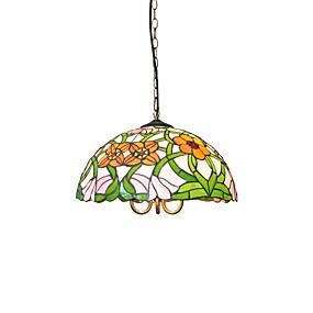 abordables Lampe Tiffany-diamètre 40cm tiffany suspensions en verre abat-jour salon chambre à coucher salle à manger la chambre des enfants luminaire