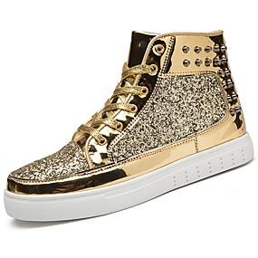 cheap Men's Sneakers-Men's Rubber Spring / Fall Comfort Sneakers Gold / Black / Silver