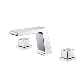 저렴한 특별 할인 및 프로모션-콘템포라리 와이드 스프레드 워터팔 브라스 발브 두 핸들 세 개의 구멍 크롬, 욕실 싱크 수도꼭지