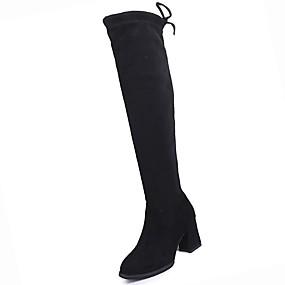 voordelige Dameslaarzen-Dames PU Winter Comfortabel / Modieuze laarzen Laarzen Blokhak Ronde Teen Dij-hoge laarzen Zwart