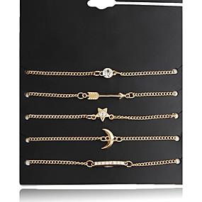 baratos Pulseira de Charme-Mulheres Pulseiras com Pendentes Franjas senhoras Fashion Liga Pulseira de jóias Dourado Para Diário