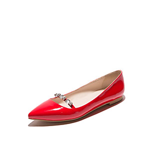 cheap Women's Flats-Women's Patent Leather Spring / Summer Flat Heel Silver / Red / Almond / Wedding / Party & Evening