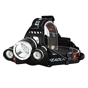 cheap Flashlights & Camping Lanterns-Headlamps Bike Light Headlight LED Cree® XM-L T6 3 Emitters 3000 lm 4 Mode with Batteries and Chargers Waterproof Impact Resistant Rechargeable Camping / Hiking / Caving Everyday Use Police / Military
