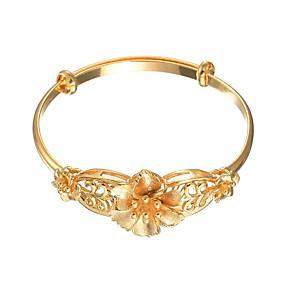 baratos Pulseiras Vintage-Mulheres Bracelete Pulseira Empilhável Flor senhoras Doce Cobre Pulseira de jóias Dourado Para Casamento