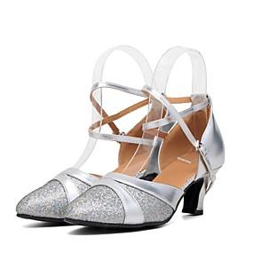 billige Moderne sko-Dame Moderne sko Glimtende Glitter / Paljett / Syntetisk Høye hæler / Joggesko Strå Kubansk hæl Kan spesialtilpasses Dansesko Gull / Sølv