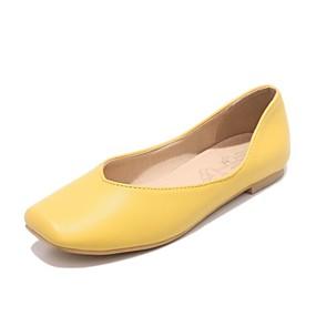 abordables Chaussures Plates pour Femme-Femme Chaussures Similicuir Printemps / Automne Nouveauté Ballerines Talon Plat Bout carré Jaune / Rose / Brun claire