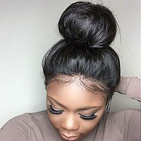 billige Lace Wigs with Baby Hair-Ekte hår Halvblonder uten lim Parykk stil Brasiliansk hår Rett Svart Parykk 130% Hair Tetthet med baby hår Naturlig hårlinje Afroamerikansk parykk 100% Jomfru ubehandlet Dame Blondeparykker med