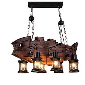 abordables Candelabros-6-luz Industrial Lámparas Colgantes Luz Ambiente Acabados Pintados Madera / Bambú Mini Estilo 110-120V / 220-240V Bombilla no incluida / FCC / E26 / E27