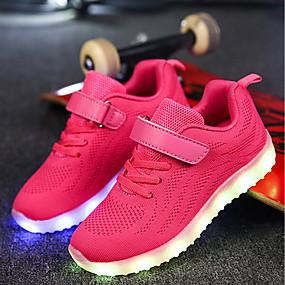 quality design 63f1f a4cb2 Pojkar   Flickor Skor Stickad   Nät Vår   Höst Komfort   Lysande skor  Sneakers Promenad Snörning   Krok och ögla   LED för Grå   Blå