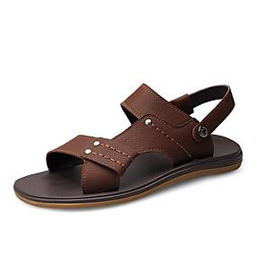 baratos Sandálias Masculinas-Homens Sapatos Confortáveis Couro Sintético Primavera / Verão Clássico Sandálias Preto / Marron / Casual