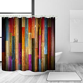 hesapli Duş Perdeleri-Kanca ile duş perdeleri renkli ahşap ahşap sanat tahta rustik retro ahşap vintage duş perdesi banyo için su geçirmez