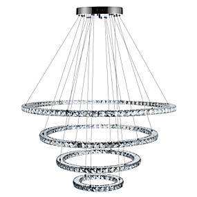 cheap Pendant Lights-Circular Chandelier Ambient Light Electroplated Metal Crystal, Dimmable, LED 110-120V / 220-240V Dimmable With Remote Control LED Light Source Included / LED Integrated