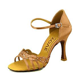 1bea9f0bb2b066 Women s Latin Shoes   Ballroom Shoes   Salsa Shoes Satin Sandal Buckle  Customized Heel Customizable Dance Shoes Yellow   Fuchsia   Purple