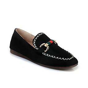 voordelige Damesschoenen met platte hak-Dames Platte schoenen Platte hak Ronde Teen Gesp Kunstleer Comfortabel Lente / Herfst Zwart / Beige / Grijs