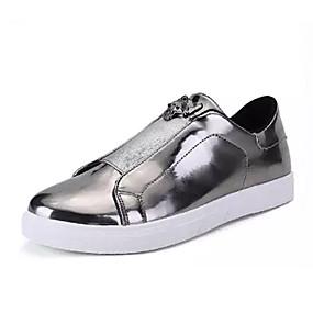 baratos Tênis Masculino-Homens Sapatos Confortáveis Couro Ecológico Outono Tênis Preto / Dourado / Prata / Ao ar livre