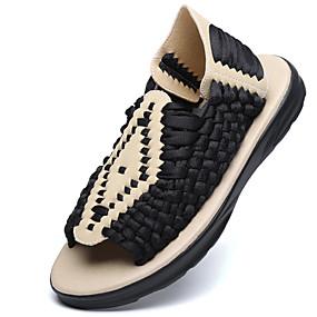 baratos Sandálias Masculinas-Homens Sapatos Confortáveis Linho Verão / Outono Sandálias Tênis Anfíbio Preto / Bege / Café / Casual / Ao ar livre