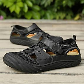 baratos Sandálias Masculinas-Homens Sapatos Confortáveis Pele Napa Verão Sandálias Preto / Castanho Escuro / Marron / Casual / Ao ar livre