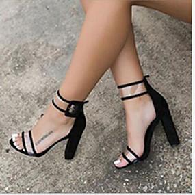 cheap Wedge Sandals-Women's Block Heel Sandals PU(Polyurethane) Summer Comfort Sandals Chunky Heel Black / Blue / Burgundy / Wedge Heels / EU39