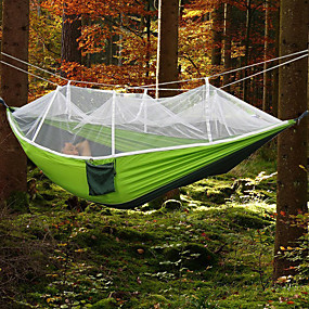 cheap National promotion-Camping Hammock with Mosquito Net Double Hammock Outdoor Ultra Light (UL) Portable Breathable Anti-Mosquito Parachute Nylon with Carabiners and Tree Straps 2 person Camping Hiking Hunting Army Green