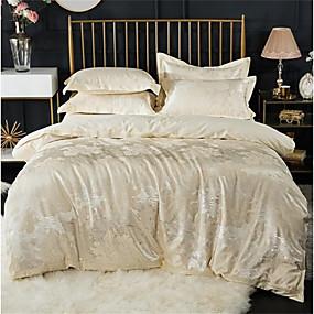 halpa Luxury pussilakanat-Pussilakanasetti setit Ylellisyys 100% puuvillaa / Silk / Cotton Blend / Puuvilla-jakardi Printed & Jacquard 4 osainenBedding Sets / 300 / 4kpl (1 päiväpeite, 1 lakana, 2 tyynyliinaa)