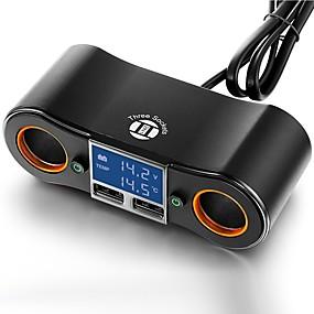 povoljno Punjači za auto-adapter za punjenje automobila dvije utičnice za napajanje i dual usb portovi digitalni vodio voltmetar / termometar za 5 v